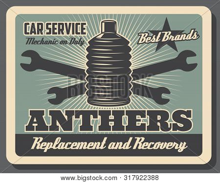 Car Service Center Vintage Poster, Automobile Chassis Spare Parts Shop. Vector Car Hinge Anthers Rep