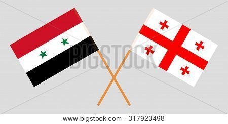 Georgia And Syria. Crossed Georgian And Syrian Flags. Official Colors. Correct Proportion. Vector Il