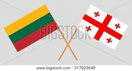 Georgia And Lithuania. Crossed Georgian And Lithuanian Flags. Official Colors. Correct Proportion. V