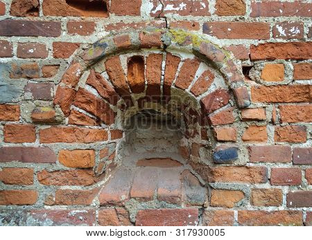Wall Of Ancient Russian Monastery With Walled Embrasure