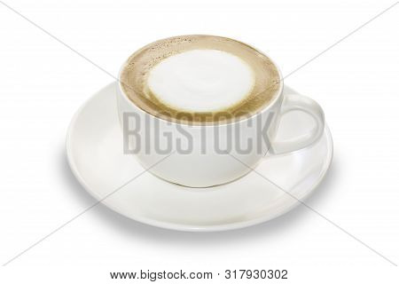 Cappuccino Coffee Cup On Isolate White Background With Clipping Path. Hot Coffee Topping With Milk.