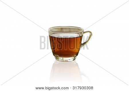 Tea Cup On Isolate White Background With Clipping Path. Hot Aromatic Tea Transparent Glass. Di Cut W