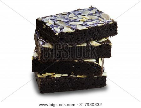 Brownies On Isolate White Background With Clipping Path. Brownie Is One Type Of Chocolate Cake. Brow