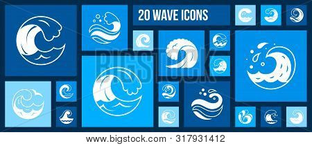 Wave Silhouette Icons Set. Isolated Web Sign Kit Of Sea. Splash Monochrome Pictogram Collection Incl