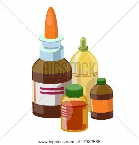 Set Medical Glass Medications. Nasal Spray, Aspirin, Iodine, Alcohol, Butter, Boric Acid, Any Other