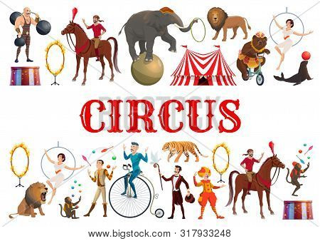 Circus Entertainment Show Poster Of Wild Animals Tamer With Lion In Fire Ring And Elephant Balancing