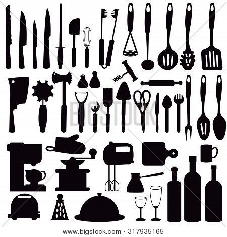 Set Silhouette Kitchen Utensils For Cooking. Kitchen, Cooking, Kitchen Technology, Taste, Delicious.
