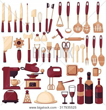 poster of Set kitchen utensils for cooking. Kitchen, cooking, kitchen technology, taste, delicious. Coffee maker, mixer, knives, spoon, fork, scoops, scissors. Modern vector flat image isolated on white backgro