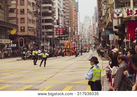 Hongkong China - March17,2019 : Large Number Of People Standing Beside Road In Hongkong When Parade