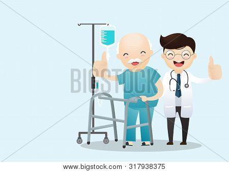 Old Man Walking With A Walking Stick. Medical Care Doctor Medicine Hospital Staff Healthcare Insuran