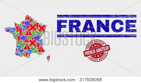 Symbolic Mosaic France Map And Watermarks. Red Round French Amateur Textured Seal Stamp. Colorful Fr