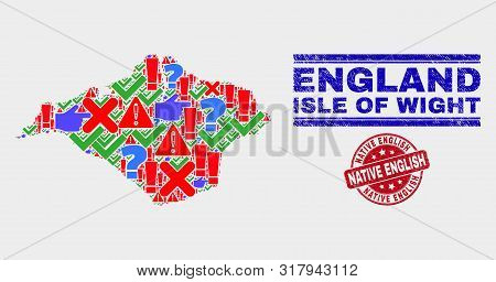 Symbol Mosaic Isle Of Wight Map And Seal Stamps. Red Round Native English Textured Seal Stamp. Brigh