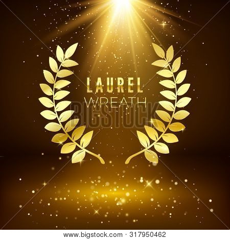 Golden Shiny Award Sign. Laurel Wreath On Dark Luxury Background With Golden Glitter. Vector Illustr