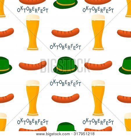 Illustration On Theme Big Colored Pattern Oktoberfest, German Holiday It Fest Sausage. Pattern Consi