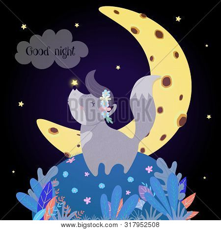 Cute Wolf Howling At Moon. Funny Baby Wolfling In Flower Wreath With Glowing Star On Nose Stand On F