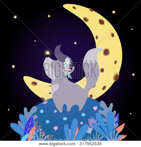 Funny Wolf Howl At Moon. Funny Kawaii Baby Wolfling Cub In Flower Wreath With Glowing Star On Nose S