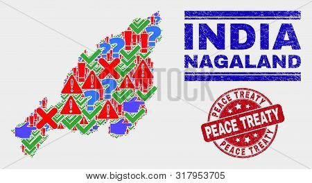 Sign Mosaic Nagaland State Map And Seal Stamps. Red Round Peace Treaty Distress Seal Stamp. Colored