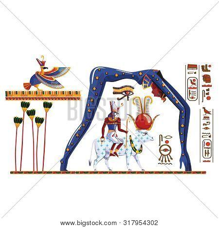 Ancient Egypt Legend Cartoon Vector. Hieroglyphs And Egyptian Culture Religious Symbols, Ra Sits On