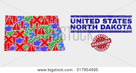 Sign Mosaic North Dakota State Map And Seal Stamps. Red Rounded Paranoia Textured Seal Stamp. Colore
