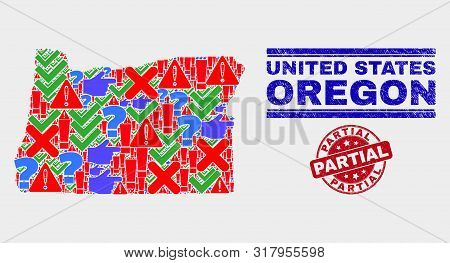Sign Mosaic Oregon State Map And Seal Stamps. Red Round Partial Textured Seal Stamp. Bright Oregon S