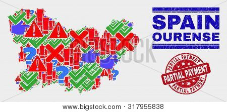 Symbolic Mosaic Ourense Province Map And Seals. Red Round Partial Payment Textured Seal Stamp. Color
