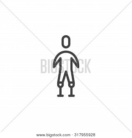 Man With Leg Prosthetics Line Icon. Linear Style Sign For Mobile Concept And Web Design. Disabled Ma