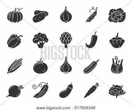 Vegetable Silhouette Icons Set. Food Symbol, Simple Shape Pictogram Collection. Vegetarian Design El