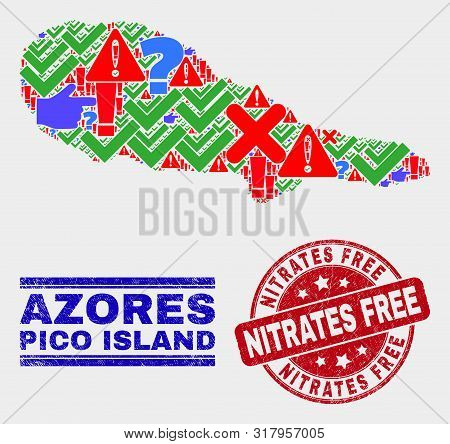 Sign Mosaic Pico Island Map And Seal Stamps. Red Round Nitrates Free Grunge Seal. Bright Pico Island