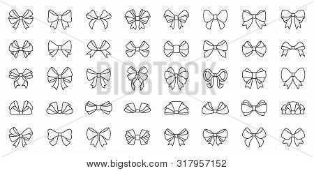 Bow Ribbon Thin Line Icon Set. Gift Birthday Xmas Or Sale Decor Collection Of Simple Outline Signs.