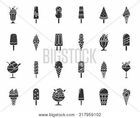 Ice Cream Silhouette Icons Set. Sweet Dessert Symbol, Simple Shape Pictogram Collection. Summer Food