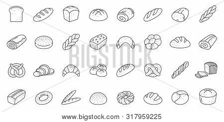 Bread Thin Line Icon Set. Bakery Collection Of Simple Outline Signs. Fresh Baking Symbol In Linear S