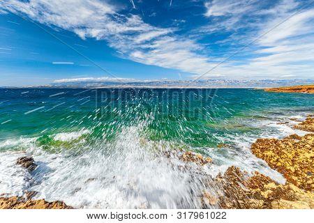 Wave On Sea At Vir Island In The Zadar County Of Croatia, Europe.