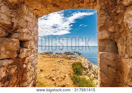 View On Sea From Kastelina Castle, Fortress Ruins On Vir Island, Croatia, Europe.