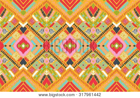 Tribal Vector Ornament. Seamless African Pattern. Ethnic Carpet With Chevrons. Aztec Style. Geometri