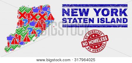 Symbolic Mosaic Staten Island Map And Seal Stamps. Red Rounded No Homeless Distress Seal Stamp. Colo