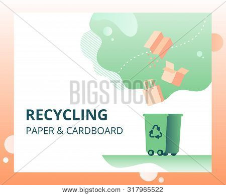 Waste Paper Recycling Vector Concept For Landing Page, Template, Ui, Web. Cardboard And Printing Pap