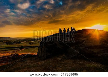 A Lovely Sunset From Rocks, Almscliffe Crag, Yorkshire
