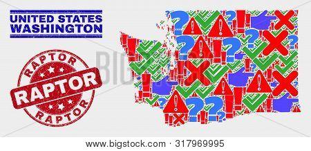 Symbol Mosaic Washington State Map And Seal Stamps. Red Rounded Raptor Grunge Seal. Colorful Washing
