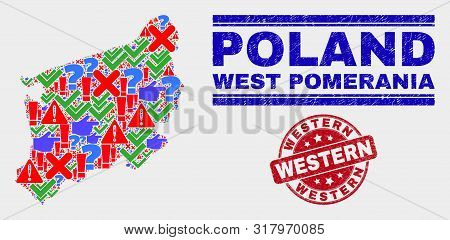 Symbolic Mosaic West Pomeranian Voivodeship Map And Seal Stamps. Red Round Western Grunge Seal Stamp
