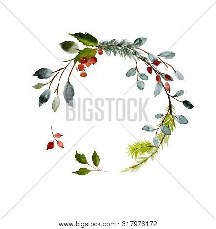 Hand drawn watercolor illustration. Christmas Wreath with winter berries and rose hips