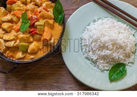 Tikka Masala Indian Chicken Curry With Basmati Rice