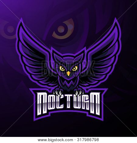 Nocturnal Bird Owl Mascot Logo Design With Text