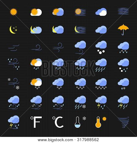 Vector Set Of 42 Weather Icons. Sunny, Snowy, Windy, Rainy, Blizzard, Storm And Other Symbols For Sk