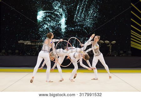 Kyiv, Ukraine - March 19, 2017:  Team Of Ukraine Performs With Hoops At Deriugina Cup Grand Prix (rh