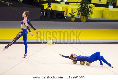 Kyiv, Ukraine - March 19, 2017:  Team Of Ukraine Performs At Deriugina Cup Grand Prix (rhythmic Gymn
