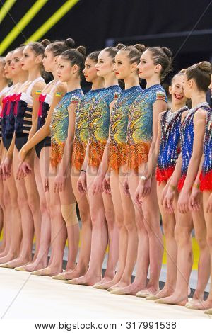 Kyiv, Ukraine - March 19, 2017:  Teams Of Gymnasts At The Award Ceremony During Deriugina Cup Grand