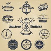Set Of Vintage Retro Nautical Badges And Labels poster
