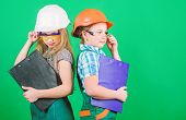 Initiative children girls provide renovation their room green background. Child care. Renovation plan. Home improvement. Builder engineer architect. Future profession. Kids girls planning renovation poster