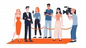 Celebrity couple on the red carpet. Paparazzi standing poster
