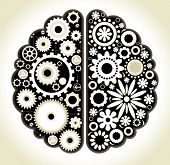 Brain with gears. the concept of logical and associative thinking man poster